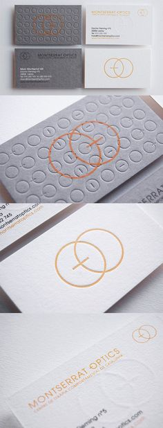 Elegant And Understated Textured Letterpress Business Card Design For An Optician