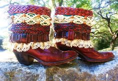 Upcycled Cowboy Boots  ARMADILLO ANNIE   by TheMagicGawdess, $178.27