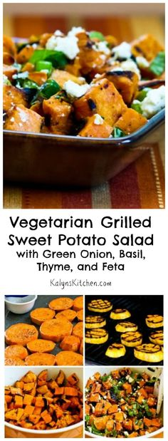 This tasty Vegetarian Grilled Sweet Potato Salad with Green Onion, Basil, Thyme, and Feta is a healthy summer side dish that's gluten-free and South Beach Diet Phase Two. [from KalynsKitchen.com]