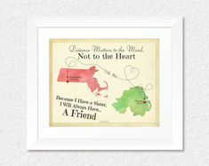 Long Distance Gift for Sister, Sister Quotes Gift, Personalized Map Print, 8x10