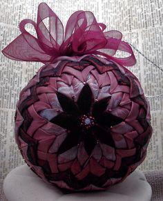 Victorian Folded Fabric  Ornament Aubergine silk velvet Christmas Holiday Decoration. $35.00, via Etsy.
