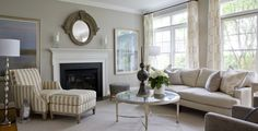Living room looks like Benjamin Moore Revere Pewter. Traditional style by Lily Mae Photo source: Lily Mae Design UK Revere Pewter Living Room, Grey Walls Living Room, Living Room Colors, Living Room Paint, New Living Room, Living Room Modern, Living Room Furniture, Living Spaces, Beige Walls