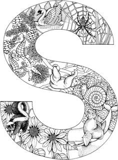 animal alphabet letter s coloring pages printable and coloring book to print for free. Find more coloring pages online for kids and adults of animal alphabet letter s coloring pages to print. Preschool Coloring Pages, Alphabet Coloring Pages, Mandala Coloring Pages, Animal Coloring Pages, Coloring Book Pages, Printable Coloring Pages, Coloring Sheets, Animal Alphabet, Alphabet Letters To Print