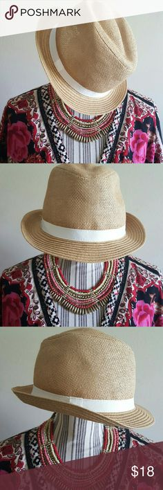 Straw Fedora Hat Brand new, bought at the beginning of summer and never wore it. Old Navy Accessories Hats