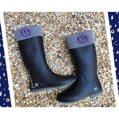 Lightweight Butterfly Twists Rain Boots Monogrammed Black Grey Rubber... ($78) ❤ liked on Polyvore featuring shoes, boots, grey, rain & snow boots, women's shoes, lightweight boots, rain boots, wellies boots, fold-over boots and gray boots
