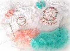 Big Sister/ Little Sister Matching Peach & Aqua Floral Wreath Shirts - Sibbling Shirts -Shower Gift - Thomas Rhett