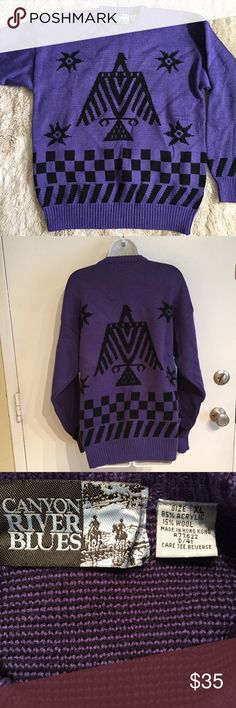 Thunderbird Aztec Knit Sweater Purple thunderbird Aztec/Native American print knit sweater. Size XL. #purple #thunderbird #tribal #aztec #nativeamerican #xl #sweater #knit #wool #unique #grunge #hipster #punkydoodle  No modeling Smoke and pet free home I do discount bundles Sweaters