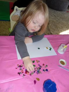 Toddler Pincer grip practice. (fine motor skills)  Sequin sticking