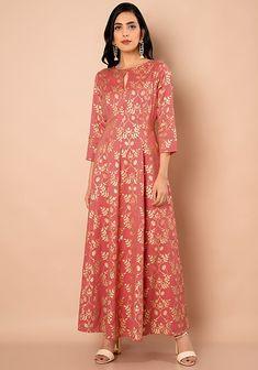 Coral Print Maxi Anarkali Tunic #Fashion #FabAlley #AnarkaliTunic #Tunic #Indya #TraditionalDress #CoralPrint #IndoWestern #Trending