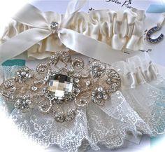 Bride Garter Set with Satin Toss Garter and Sapphire by GarterLady, $45.00  Beautiful and Romantic