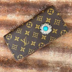 72edce69b49 Tri-Fold Ladies Wallet with Repurposed LOUIS VUITTON Canvas and Brass  Turquoise Flower Concho by Running Roan Tack