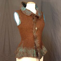 Remade Vest by Ethyria, Earth Tones with Teal details