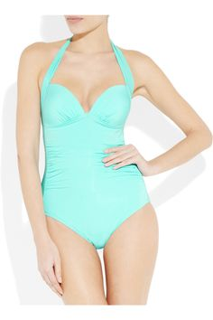 JETS BY JESSIKA ALLEN  Journey ruched halterneck swimsuit  Front View