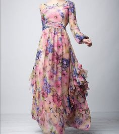 Pink Blue Floral Bohemian Aline Dress Full Pleated by ChineseHut, $175.00