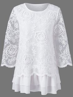 Floral Lace Layered Longline Blouse - White ~ $23.47 at twinkledeals.com