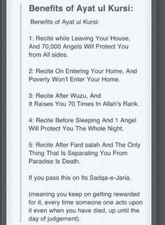 Benefits of Ayat-al-Kursi