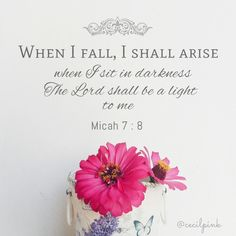 Micah When I fall, I shall arise. When I sit in darkness the Lord shall be a light to me. Biblical Quotes, Scripture Quotes, Bible Scriptures, Spiritual Quotes, Faith Quotes, Psalms Quotes, Prayer Quotes, Religious Quotes, Jesus Quotes