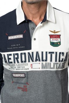 AERONAUTICA MILITARE POLO M.L. - MEN Preppy Ideas, Polo Rugby Shirt, Surf Wear, Denim Patchwork, Mens Tees, Shirt Style, Shirt Designs, Mens Fashion, Men's T Shirts