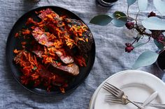 Slow-Cooked Rib Eye Topped with Spicy Harissa Carrots savory