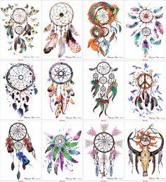 12 Sheet Dreamcatcher Decal Designs Waterproof DIY Tattoo Sticker Women Body Art Dream Catcher Indian Feather Temporary Tattoo #Affiliate