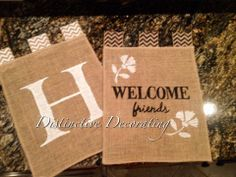 burlap garden flags - personalized