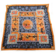 This is an authentic HERMES Silk Greek God and Goddess Mythology Scarf 90.   This chic scarf is 100 silk and features bright bold colors with a frieze pattern of frolicking Greek gods and goddesses in the early style.