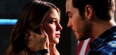 """Kara and Mon-El kissing in the 2x16 """"Star-Crossed"""" trailer. This makes me both happy and sad, because I've got a feeling it's about to be a rough ride for my babies. Please, CW/SG writers...KNOW WHAT A GOOD THING YOU'VE GOT!!! (A temp/season long breakup is fine, if we must. I just need them to work out in the end like I know they can <3) (gif from emmastones on tumblr) 