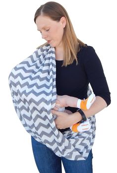 Amazon.com : Double-Sided Infinity Nursing Scarf for Breastfeeding Babies & Mothers. Nourish your Baby Naturally and Privately with this Comfy, Stylish, Easy-to-Arrange Gift Idea from bozemanbabycompany. This Chevron, Jersey-Knit Cover is a Must-Have for Moms. (grey/white chevron) : Baby