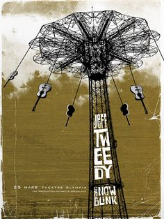 I love this design. The complexity of the structure is really cool, the background is so perfectly grungy with the color and the lines and then the type all squished in there... fantastic.  Jeff Tweedy  three color hand screen print by pathposterdesigns