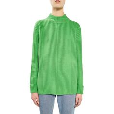 Women's Topshop Boutique Cutout Wool Sweater ($170) ❤ liked on Polyvore featuring tops, sweaters, green, topshop tops, open back tops, wool sweaters, topshop sweater and woolen sweater