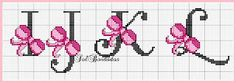 Cross-stitch Pink Ribbon ABCs, part 3 . no color chart available, just use… Cross Stitch Alphabet Patterns, Cross Stitch Letters, Cross Stitch Baby, Cross Stitch Charts, Cross Stitch Designs, Stitch Patterns, Cross Stitching, Cross Stitch Embroidery, Embroidery Patterns