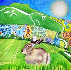 A pack of six cards with envelopes of my painting Chalk Hill Blues, featuring a brown hare and the ancient Uffington White Horse. Chalk Hill, March Hare, White Horses, Tortoise, Sheep, Blues, Bunny, Creatures, Rabbits