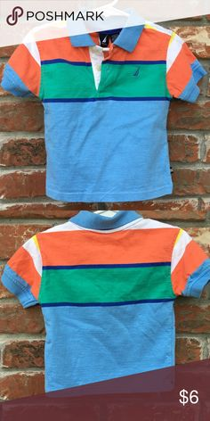 Náutica Stripe Tee Blue, Orange , Green and white Collard Tee• Short sleeve• Great condition Nautica Shirts & Tops Tees - Short Sleeve