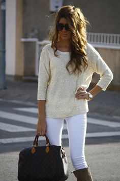 Sparkly sweater, white jeans