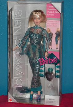 New Barbie Doll Hollywood Nails 1999 Turquoise Tube Dress, this was my favorite barbie!!!! I loved her.