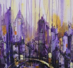 ARTFINDER: Bustle In The Midst by Irina Rumyantseva - A unique abstract impressionist cityscape painting on chunky box canvas, ready to hang. A stunning modern contemporary skyline using gel pen and acrylics. Bu...