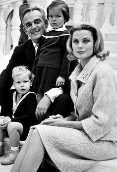 Prince Rainier and Princess Grace, with Princess Caroline and Prince Albert