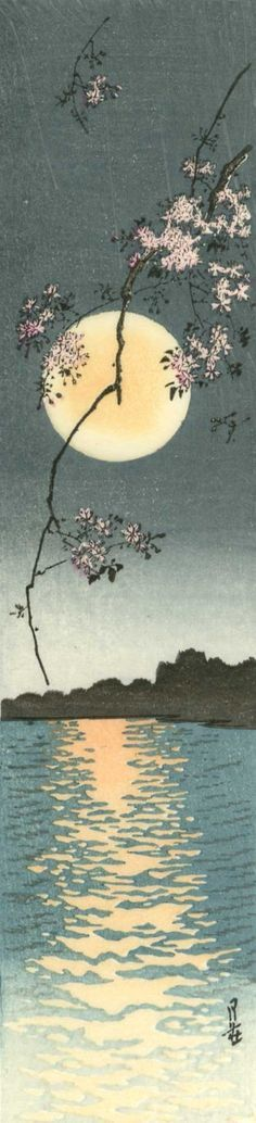 Gesso Yoshimoto Japanese Woodblock Print Blossoms and Full Moon
