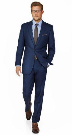 Intense Blue Pick & Pick Suit in English Wool