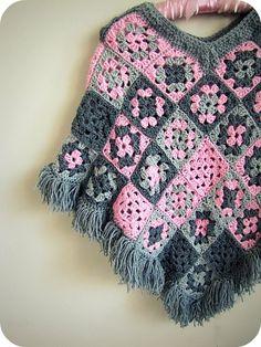 Granny Square Poncho #granny #square #granny square #poncho #shawl #pink #grey