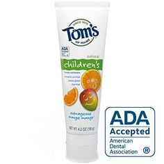 Toms of Maine Natural Anticavity Fluoride Toothpaste for Children Outrageous Orange Mango 4Ounce Tube * Check out the image by visiting the link.