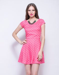 Pink On The Dot Skater Dress : Supremely cute pink viscose dress featuring a white polka print all over and a skater style skirt. Short sleeves, side zip closure and regular fit.  Work It - Looks lovely with a crystal necklace and pastel sandals.