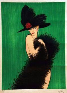 Elégante au Chapeau - René Gruau , 1980 Italian-French 1909-2004 Colour Lithograph, 75,7 x 55,5 cm