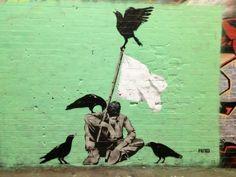 Street art in London, UK, by Japanese street artist AITO