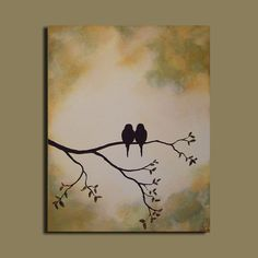 Original Painting - Love Birds on Tree Branch