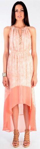 $338 hi low hem dress in coral snake via boutiika.com
