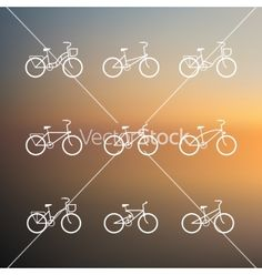Bicycle signs set of simple bike icons vector  - by talashow on VectorStock®