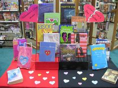 Valentine's Day and Anti-Valentine's Day display idea for teens. good idea to get both crowds! :)