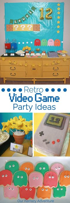 xbox birthday party We had a blast putting together this Retro Video Game Birthday Party. And like most tween boys. our son loves video games. Retro Videos, Retro Video Games, Video Games For Kids, Retro Birthday, Birthday Party Games, Birthday Ideas, 30th Birthday, Game Boy, Game Themes