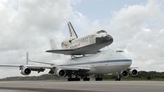 """Discovery"" atop the shuttle carrier."